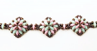 Diamond SuperDuo Bracelet Beadwork Kit - Mint, Pink & Bronze